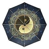 Paraguas de Viaje pequeño a Prueba de Viento al Aire Libre Lluvia Sol UV Auto Compacto 3 Pliegues Cubierta de Paraguas - Diwali Mandala