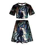 ZXSSJLJDG Mujeres Jujutsu Kaisen Gojo Satoru Anime Impresión 3D Crop Tops + Faldas Sexy Set Ombligo Expuesto Camiseta Lumbar del Verano De Traje Falda Blusas T-Shirt De Los Cultivos Moda Falda Traje