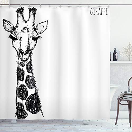 ABAKUHAUS afrikanisch Duschvorhang, Safari Giraffe, Wasser Blickdicht inkl.12 Ringe Langhaltig Bakterie & Schimmel Resistent, 175 x 200 cm, Weiß Grau
