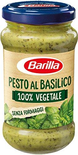 Barilla Sugo Pesto 100{649feaade5543288bbf769bef2e4d46e1b2d7b658270744d5eb393826be4ece2} Naturale senza Aglio e Senza Formaggi con Basilico Fresco Italiano, Senza Glutine - 195 g