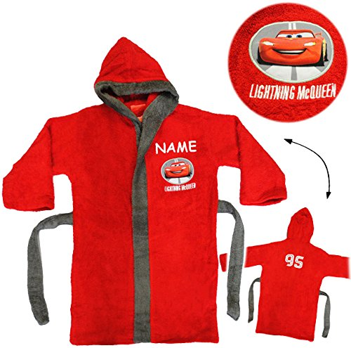 alles-meine.de GmbH Frottee Bademantel -  Disney Cars - Auto - Lightning McQueen  - incl. Name - 5 bis 8 Jahre / Gr. 116 - 140 - 100 % Baumwolle - mit Kapuze - für Kinder / Jun..