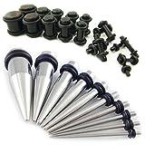 Calibre Gear 28Pc Auriculares de extensor de pecho para fitness kit - bentleys bargain Warehouse Auriculares de acero inoxidable y negro 1.6mm-10mm tapones para los oídos