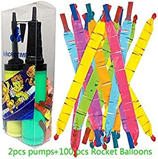 Microtimes 100 Pack Rocket Balloons with 2 Air Pumps flying balloon Giant Rocket Balloons with a whistling noise for Kids