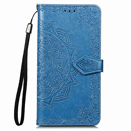 Hülle für LG Q70 Hülle Leder,[Kartenfach & Standfunktion] Flip Case Lederhülle Schutzhülle für LG Q70 - EYSD011055 Blau