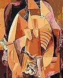 YUHHGFK DIY Pintura por Números Patrón Abstracto Amarillo Pint por Número de Kits con Pinceles y Pinturas para Adultos, niños y Principiantes Decoraciones Hogar - 40 X 50 cm (con Marco de Madera)