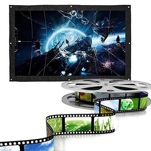 Schermo per proiettore da montaggio a parete, portatile e pieghevole, 16: 9, schermo di proiezione bianco con bordi neri per Home Cinema, conferenza, vetrina pubblica