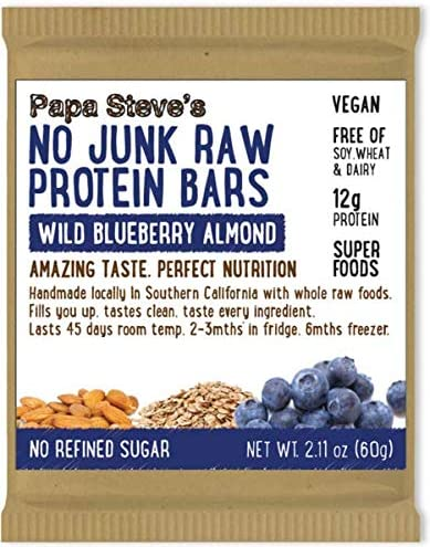 Papa Steve's No Junk Raw Vegan Blueberry Bars Overseas parallel import regular item Wild 2.1o Free shipping anywhere in the nation Protein