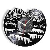 LIMN Reloj de Pared de 12 Pulgadas Alpes Paisaje de montaña Vinilo LP Reloj de Pared Reloj de Pared Suizo Snow Mountain Paisaje Urbano