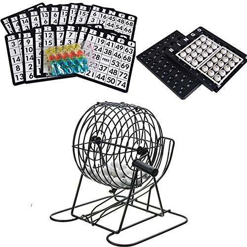 TRF Deluxe Bingo Jaula Juego Set - 8 Pulgadas Jaula de Metal con Bolas Blancas Chips Cartas de la Mesa - para múltiples Jugadores Familiares Entretenimiento Actividades Get Together