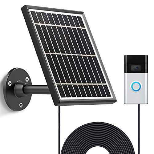 Solar Panel Compatible with Video Doorbell 1/newest generation(2020 Release-1080p), Waterproof Charge Continuously,5 V/ 3.5 W (Max) Output, Includes Secure Wall Mount,5.0M/16 ft Power Cable