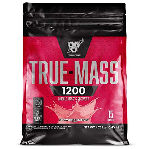 BSN True Mass 1200 Mass Gainer Whey Protein Powder with BCAAs and Glutamine for Weight Gain and Muscle Recovery, Strawberry Milkshake, 15 Servings, 4.73 kg
