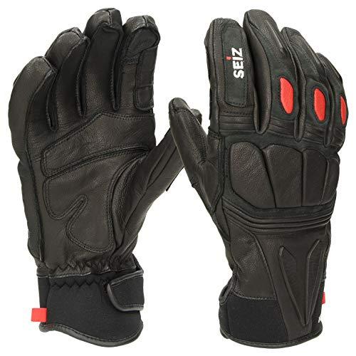 SEiZ Unisex– Erwachsene Racer Handschuhe, Schwarz, S