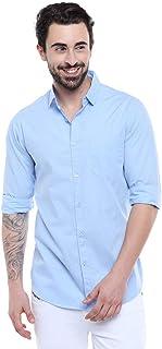 Garmend Mens Pure Cotton Casual Shirt Men Full Sleeves Fashion Multi Color (Sky Blue, Large)