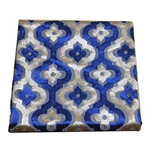 NAKAN 148x100cm Tela de Tapicería de Poliéster en Relieve por Metro con Patrón Floral/Geométrico para Muebles de Sofá, Costura de Manualidades Y Fundas para Sillas(Color:Royal blue1)
