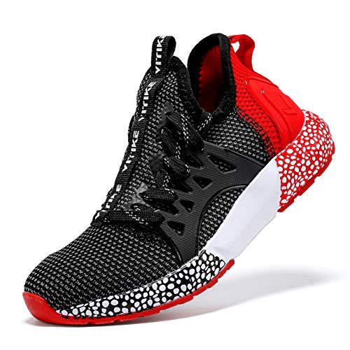 JMFCHI Kinder Turnschuhe Kinderschuhe Jungen Sneaker Mädchen Outdoor Sportschuhe Casual Damen Laufschuhe, 34 EU, Schwarz Rot 8082