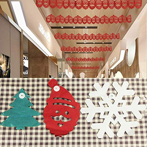 Snowflake + Santa Claus + Christmas Tree Christmas Hanging Paper Garland Chain Home Festival Party Ceiling Banner Decor