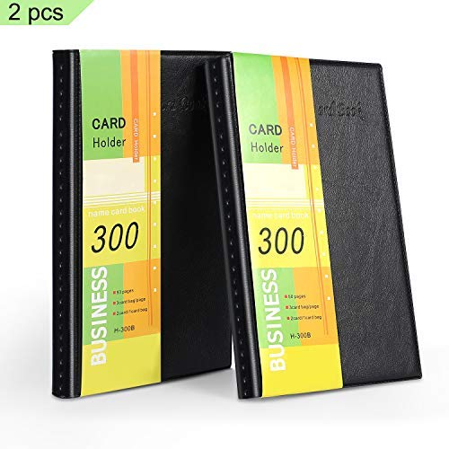 Farielyn-X Business Card Holder, Journal Business Card Organizer, Professional PU Leather Name Card Book Holder, Office Business Card Book, 2 Pack Total for 600 Business Cards