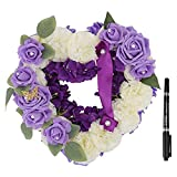 IMIKEYA Artificial Flower Wreath Memorial Grave Heart Wreath with Marker Floral Arrangement Purple Flower Garland Funeral Cemetery Tombstone Saddle