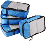Best packing cube for travel - AmazonBasics Small Packing Travel Organizer Cubes Set, Blue Review