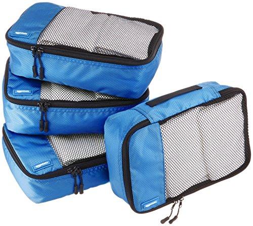 Amazon Basics - Bolsas de equipaje pequeñas (4 unidades), Azul