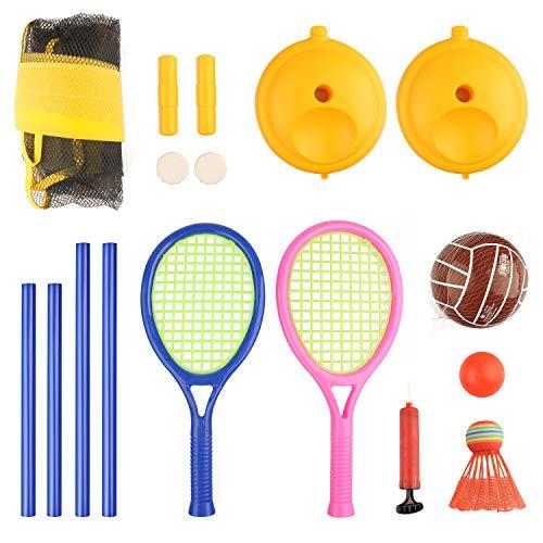 FBSPORT 2 in 1 Tennis Set und Badminton Set für Kinder,Badminton und Volleyball Set Ballschläger Netzspiele Kinder Outdoor Sportspielzeug