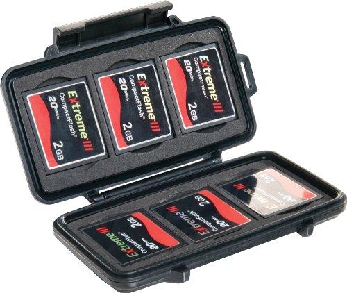 PELI 0945 Widerstandsfähiges Memory Card Speicherkarten Case für Flash Karten, IP67 Wasser- und Staubdicht, 1L Volumen, Schwarz