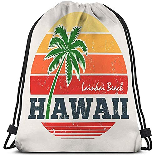 BOUIA Gym Travel Yoga Casual Trekkoord Tas hawaii lanikai strand print palm boom stempel label typografie