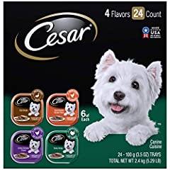 Contains one (1) 24 count case of 3.5 oz. easy peel trays of CESAR Wet Dog Food Poultry Variety Pack: (6) Duck Recipe, (6) Grilled Chicken Flavor, (6) Oven Roasted, Chicken Flavor, (6) Turkey Recipe Crafted without grains and with US Chicken, US Turk...