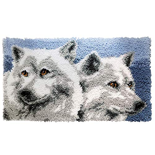 SKTWOE Latch Hook Rug Kit Hand Craft DIY Pillow Cover DIY Latch Hook Kits for Adults Beginner Cushion Latch Hooking Rug Kits Embroidery for Kids Wolf 50Cmx30cm,A