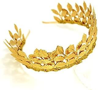 Bridal Hair Crown Headband Vintage Gold Tiara with Adjustable Multi Leaf Branch - Goddess Dainty Wedding Headpiece