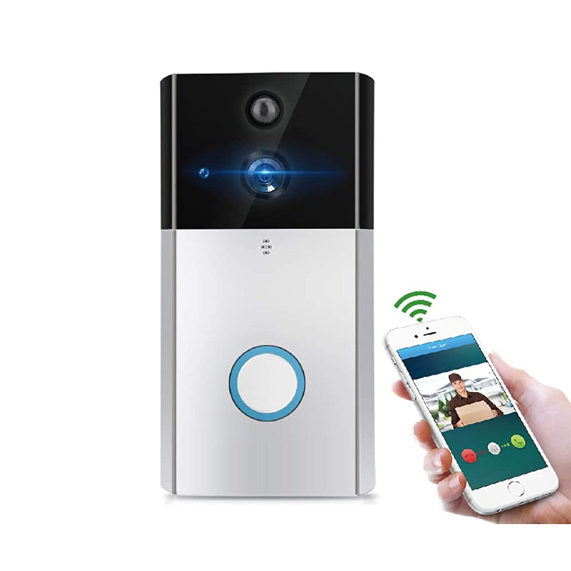 YMXLJJ Intelligent Video Doorbell 720P HD Camera WiFi Mobile Phone Remote Camera Night Vision Home Voice Intercom Low Power Support Android and iOS,Silver rc87398135103989