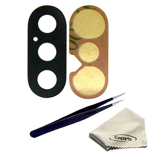 Ewparts Paquete de 1 Pieza de Vidrio con Revestimiento Posterior, Lente, Cubierta de reparación, Cristal con Adhesivo, Pieza de Repuesto para iPhone X - Juego de Herramientas