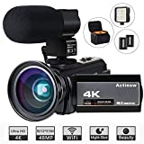 Video Camera 4K Camcorder Ultra HD 48MP WiFi IR Night Vision Vlogging Camera 3' IPS Touch Screen 16X Digital Zoom Recorder Digital Camera with Microphone,Wide Angle Lens,LED Video Light,Camera Bag