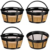Reusable Coffee Filter, 4 Pack Basket Coffee Filters 8-12 Cup Replacement Coffee Filter with Stainless Steel...