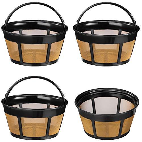 Filtro de café reutilizable, paquete de 4 filtros de café de 8 a 12 tazas de repuesto con parte inferior de malla de acero inoxidable para cafeteras y cafeteras Mr. Coffee y Decker