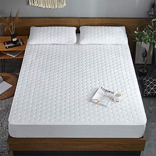 XGguo Protector de colchón - Protector de colchón antialérgico Sábana de una Sola Pieza Transpirable Engrosada a Prueba de Polvo-Cubo de Agua White_180cmx200cm