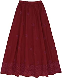 Ayurvastram Pure Cotton Hand Embroidered Long Skirt