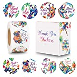 The Carefree Bee - 1.5 Inch Animal Thank You Stickers - 500 Stickers Per Roll - 8 Designs (Set 1)