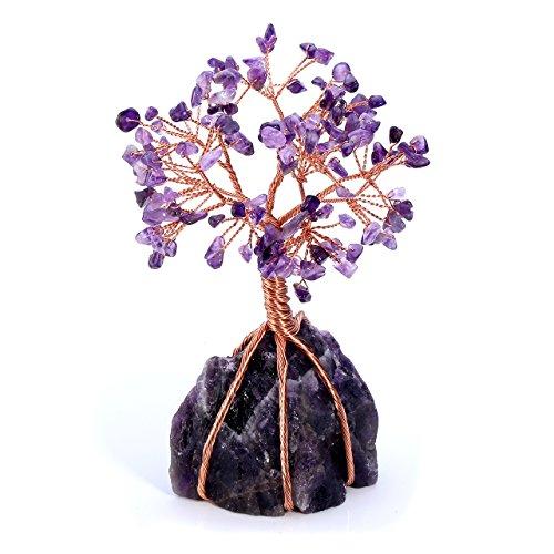 CrystalTears Edelstein Baum des Lebens Dekoration Wire Wrap Trommelsteine Lebensbaum Feng Shui Geldbaum Glückbaum mit Kristall Basis Tisch Büro Deko (Amethyst)