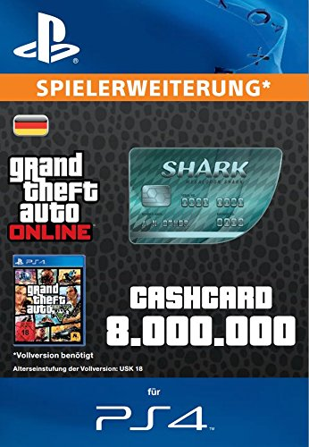 Grand Theft Auto Online | GTA V Megalodon Shark Cash Card | 8,000,000 GTA-Dollars | PS4 Download Code - deutsches Konto