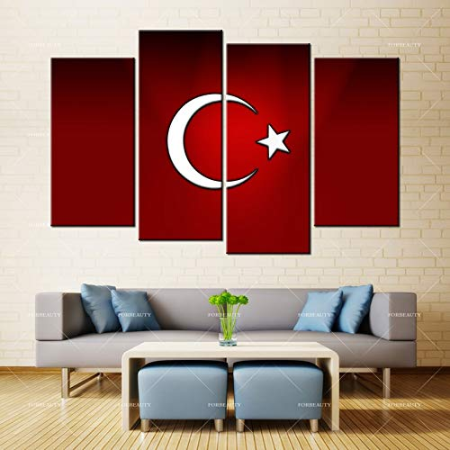 N / A Schönheit Leinwand Malerei Wandkunst Crescent Muslim Logo Inkjet wasserdichte Tinte Hauptdekoration