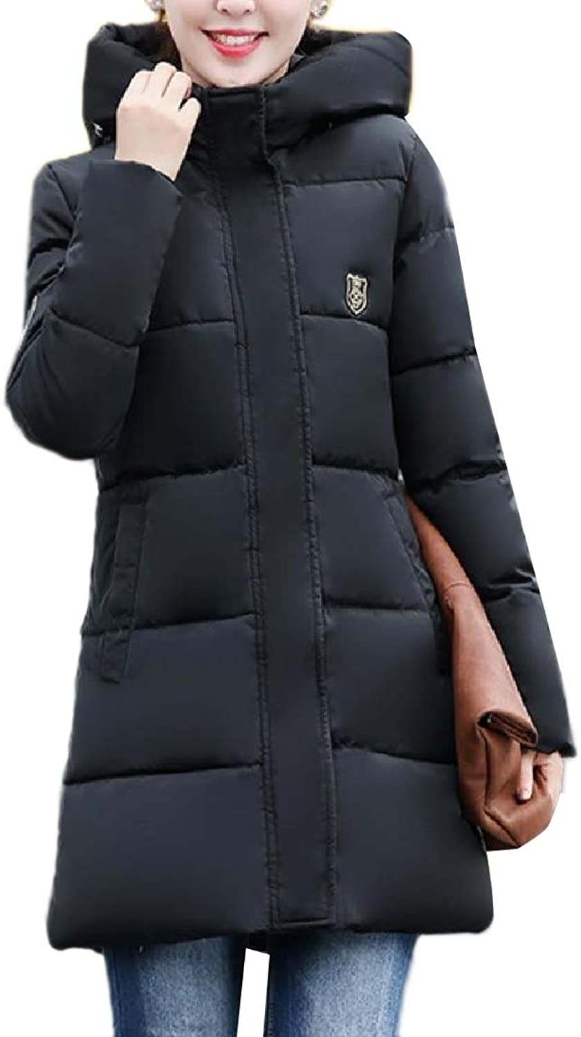 Yingshif Women Parka Down Jacket Packable Puffer Slim Quilted Topcoat