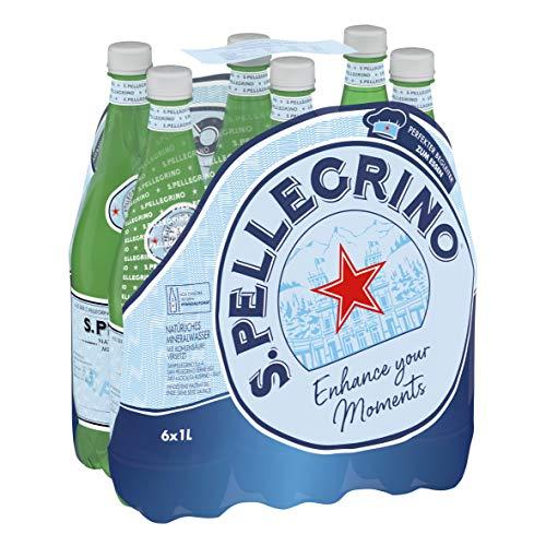 Sanpellegrino | Mineralwasser Medium | Natürlich und feinperlig aus den lombardischen Alpen | Hoher Mineralisierungsanteil | Besonders zum Essen geeignet | 6x 1l PET Einweg Flaschen