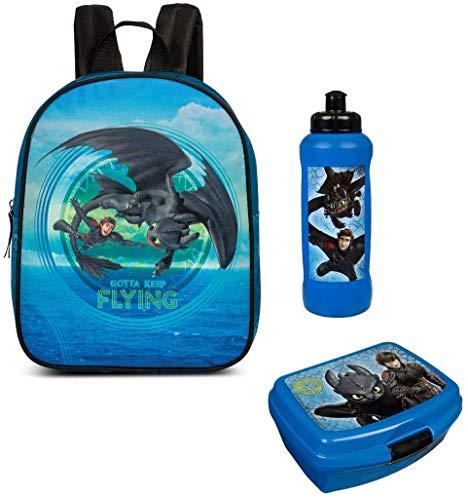 Familando Dragon-s Drachen-zähmen leicht gemacht Rucksack-Set 3tlg. mit Brotdose und Trinkflasche für Kinder-Garten / Krippe blau