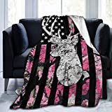 NiYoung Super Soft Flannel Blankets for Couch/Bed/Sofa Luxurious Warm and Cozy Fluffy Throw Blanket (American Flag Rifle Bullets Funny Deer Hunting Pink Camouflage, 50x40 Inch)
