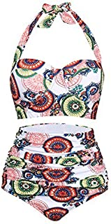 FeelinGirl Ladies 50s Retro High Waisted Halter Bikini Swimsuits Colorful Circle L [並行輸入品]