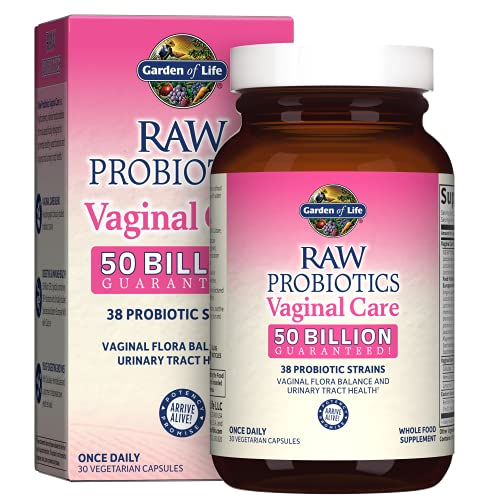 Garden of Life Raw Probiotics for Women's Vaginal Health - Vaginal Care Probiotic with Acidophilus Probiotic Promotes Yeast Balance, Vaginal, Urinary Tract Health, Gluten Free, 30 Vegetarian Capsules
