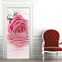 家の装飾デカール バラの花のドアのステッカー壁画紙の家の装飾の写真寝室のための自己粘着性の壁紙