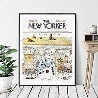 1960年ニューヨーカー誌の表紙ポスター9番街からの世界の眺め地図ヴィンテージプリント壁アート写真キャンバス絵画家の装飾、50x70cm、フレームなし