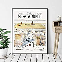 ULOVEH 1960 New Yorker Magazine Cover Poster View of The World from 9th Avenue Map Vintage Print Wall Art Picture Canvas Painting Home Decor,50x70cm,no Frame